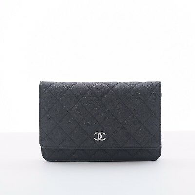 a0ce9e13ef4d CHANEL 07 Metallic Black Texture Caviar Wallet on Chain WOC Bag  LIMITED  EDITION