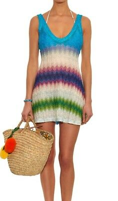 91ea1d22d3 Missoni Mare Beach Cover Up Mini Dress Xsmall Xs 38 Blue Wave Stripe $1,100