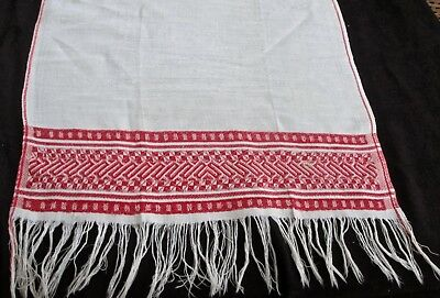 """antique linen towel w red woven border + woven Westminster Abbey design 30x17"""""""