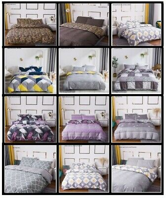 New Luxury Duvet Quilt Cover With Pillowcases Bedding Set Single, Double, King,