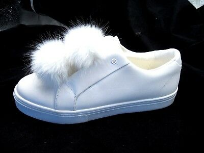 5f359dd9522c Sam Edelman Leya White Womens Leather Pom Fur Tennis Sneakers sz 13M mens  11M
