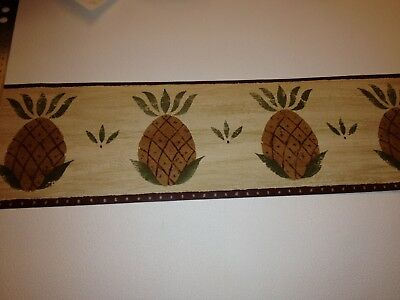 PINEAPPLE DYE-CUT  WALLPAPER  BORDER WITH RED BACKGROUND KG8776B