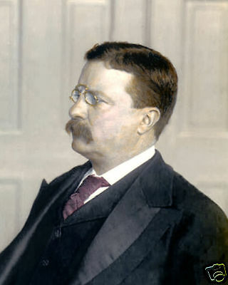 """PRESIDENT THEODORE """"TEDDY"""" ROOSEVELT 1890 8x10"""" HAND COLOR TINTED PHOTOGRAPH"""