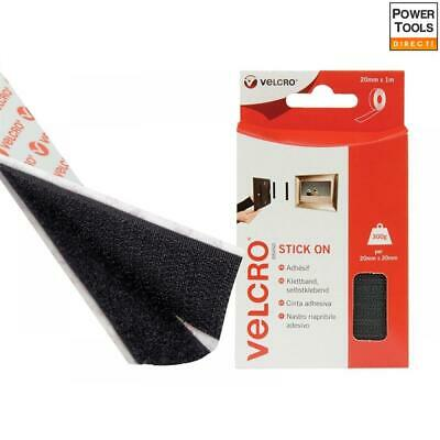 VELCRO® Brand 1m x 20mm Stick On Hook /& Loop Tape White Black,Ecru