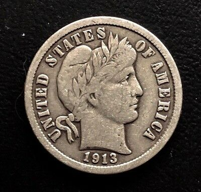 1913 10c Barber SILVER Dime FULL LIBERTY
