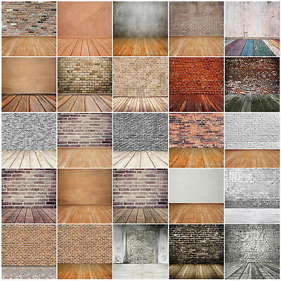 10X10FT Grunge Brick Wall Vintage Wooden Floor Vinyl Backdrops Studio Background