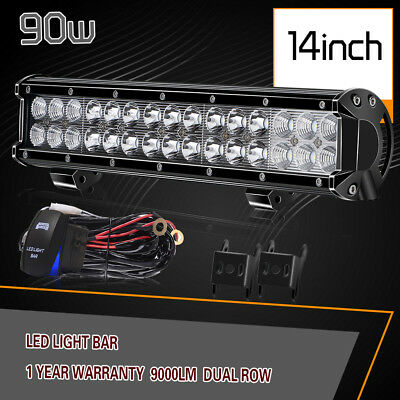 14inch 90W Led Light Bar Combo+ Wiring Harness Flood Offroad Lamp SUV Truck 4WD