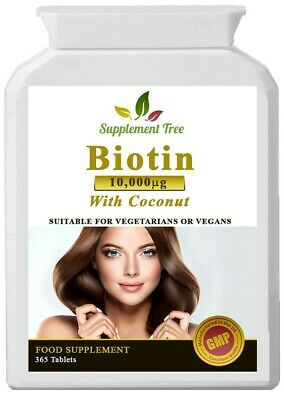 BIOTIN 10,000mcg 365 Tablets With Coconut Oil, Strong Hair Skin and Nail Growth