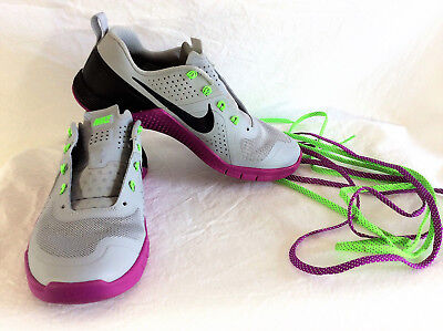 0577774d6da3b1 Nike Metcon 1 Gray Purple Green Black Trainers 813101-005 Women s 7 EEUC
