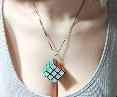 Magic Cube Rubicks Fashion Women Jewelry Silver Long Chain Pendant Necklace NEW