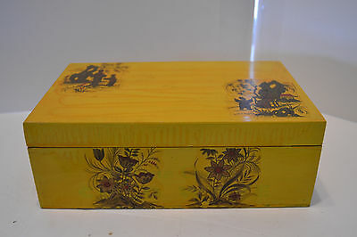 Vintage Oriental Wood Jewelry Trinket Box