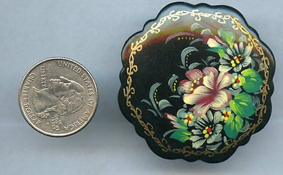 Vintage Russia Flower Pin Brooch Signed Handpainted Russian P91
