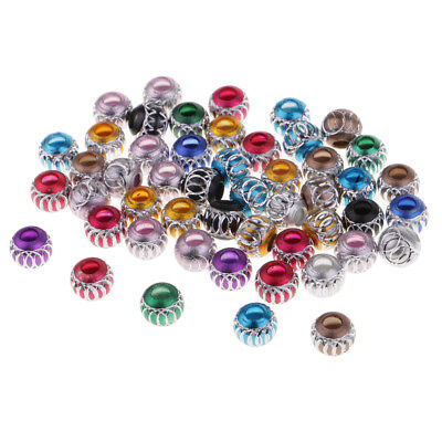 50Pcs Multicolor Aluminum Large Hole Spacer Beads for European Charms 8mm