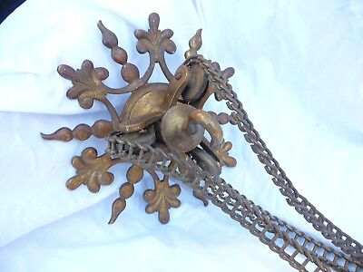 Antique Edwardian Large Brass Rise/Fall Ceiling Light Rose Bracket Hook Chain