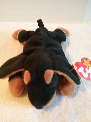 """Ty Beanie Babies Collection """"DOBY"""" Doberman Pinscher Plush Toy Dog  8"""""""