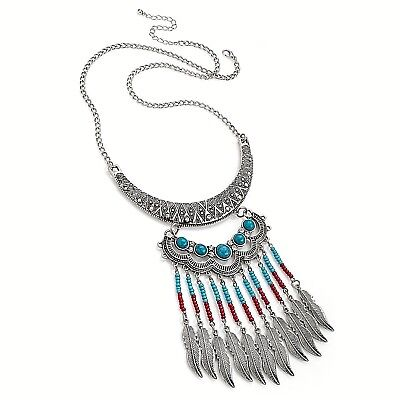 Antique Style Tibetan Silver Beaded Feather Necklace - Tribal Statement Boho