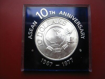 Singapore 1977 Silver $10 Dollars Coin 10th Anniversary of ASEAN plastic holder