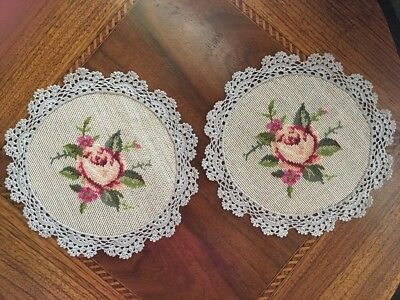 """Vintage Needlepoint Floral Table Doily's (Set of 2) with Crocheted Edge 8"""" Dia."""