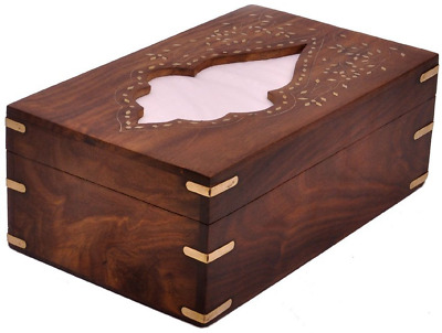 India Wooden Handmade Decorative Tissue Box Holder