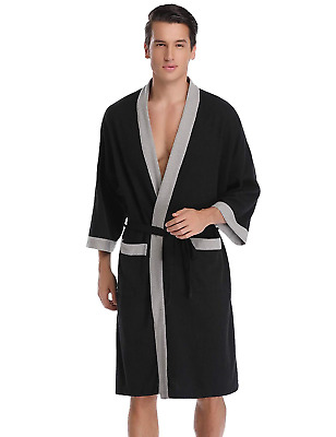 105b8f8ab4 Aibrou Unisex Waffle Dressing Gown Cotton Lightweight Bath Robe for All..