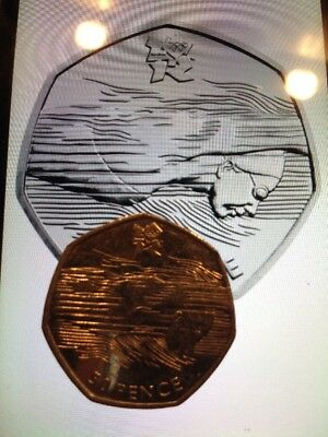 50P COIN OLYMPIC SWIMMING AQUATICS 50P COIN CIRCULATED fifty Pence