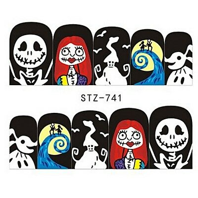 Nail Art Stickers Water Decals Transfers Gothic Zombies Skulls (STZ741)