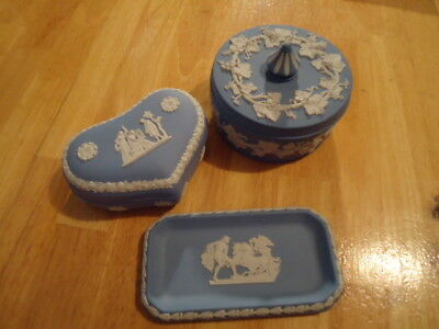 Wedgwood Jasperware Light Blue & White Set, Trinket Box, Vintage, England
