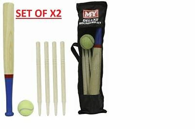 SET OF 2 M.Y Deluxe 6 Piece Wooden Rounders Set With Carry Bag