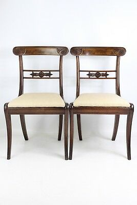 Pair Antique Regency Mahogany & Brass Chairs - Georgian Dining Kitchen Desk Hall