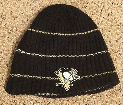 6e9d2015d78 Pittsburgh Penguins ~ REEBOK NHL Black Adult Beanie Winter Ski Knit Hat Cap  NHL