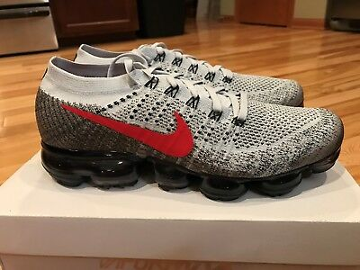 Nike Air Vapormax Flyknit OG Pure Platinum University Red 849558-020 Size 9.5