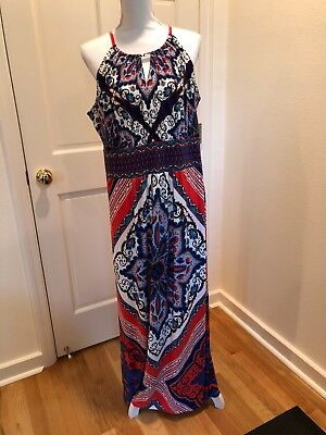 fe0db1aaf4 CHICO S BLACK WHITE Cobalt Blue Print Maxi Dress Size 1 (8-10) NWT ...