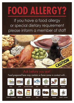 Food Allergy Sign Pub Bar Restaurant Notice Allergen Warning Law Sign A4 Size