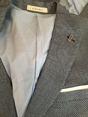 Zara Man Men's BLUE TEXTURE WEAVE SUIT BLAZER JACKET US 38 44 42 5502/412