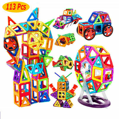 113Pcs Magic Magnetic Building Blocks Kids DIY Construction Educational Toy Gift