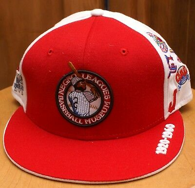 b25b7ee7619a4 NEGRO LEAGUES BASEBALL Museum Headgear Fitted Hat Cap w team logos ...
