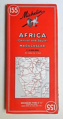 MICHELIN MAP 155 AFRICA CENTRAL AND SOUTH 1968 w Madagascar Vintage