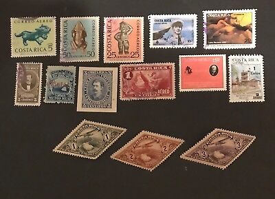 Costa Rica postage stamps lot of 14 old.           Ja