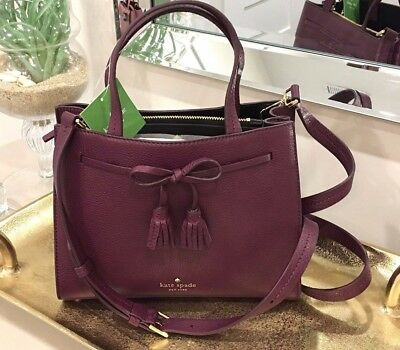273a57a895a2 NWT Kate Spade Small Isobel Deep Plum Burgundy Leather Hayes Street RARE SAM