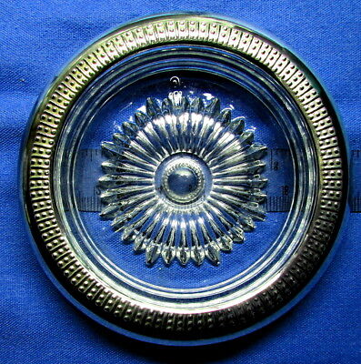 STC 1950's Sterling Silver Rimmed Deep Glass Coaster Ash-tray Candy Nut Pristine