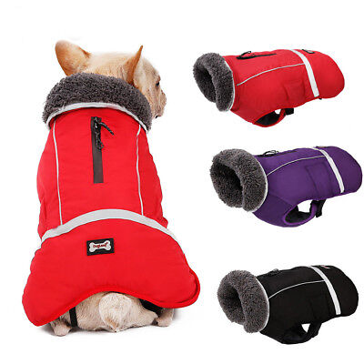 Dog Clothes Winter Waterproof Pet Warm Padded Coat Jacket Fashion Vest Large AU