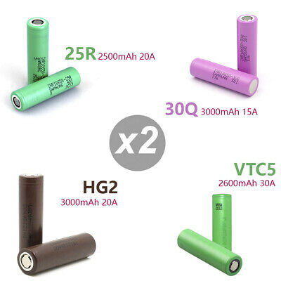 2x Sony Samsung LG HG2/VTC5/25R/30Q 18650 Rechargeable Lithium Battery