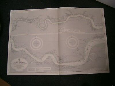 Vintage Admiralty Chart 2484 UK RIVER THAMES - VAUXHALL to THAMES HAVEN 1966 edn