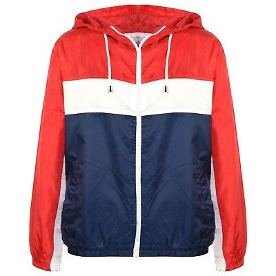 Kids Girls Windbreaker Contrast Block Red Hooded Jackets Rain Mac Raincoats 5-13