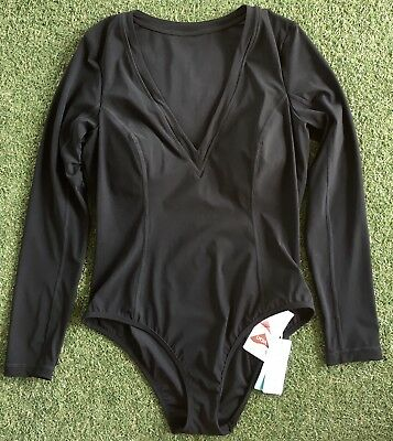 New Seafolly Resist Me Long Sleeve Surf Suit Maillot In Black - Size AU12    US8 96ac01df8