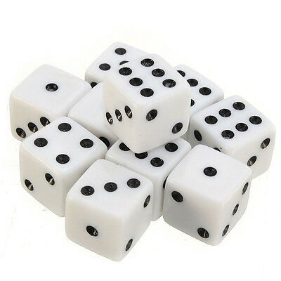 10pcs/set Six Square Sided Opaque 16mm D6 Dice White with Black Pip Die Fun DP