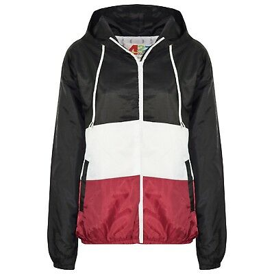 Kids Girls Windbreaker Contrast Panel Wine Hooded Jackets Rain Mac Raincoat 5-13