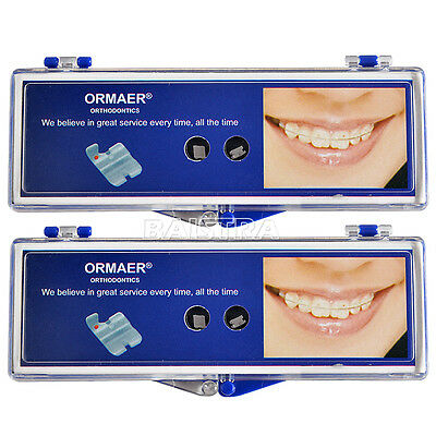US 2x ORMAER Ortho Dental Ceramic Brackets 5*5 Slot Roth 0.022 Hooks 345 SALE