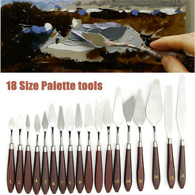 Stainless Steel Painting Palette Kits Oil Paint Spatula Mixing Scraper Art