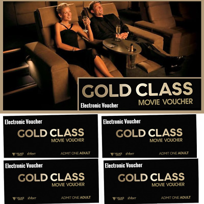 🎫 4 x VILLAGE GOLD CLASS VOUCHERS 🎥 🍿 TICKETS🍿 [E-TICKET] 📧 Email Delivery
